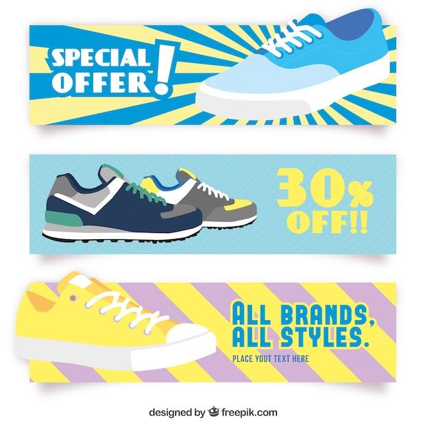 Schoenen verkoop banners Gratis Vector