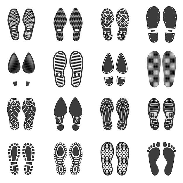 Schoenen voetafdruk ingesteld Premium Vector