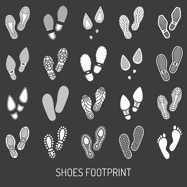 Schoenen voetafdruk ingesteld Gratis Vector