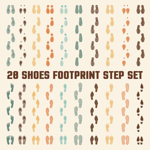 Schoenen voetafdrukken kleurrijke nummers set Gratis Vector