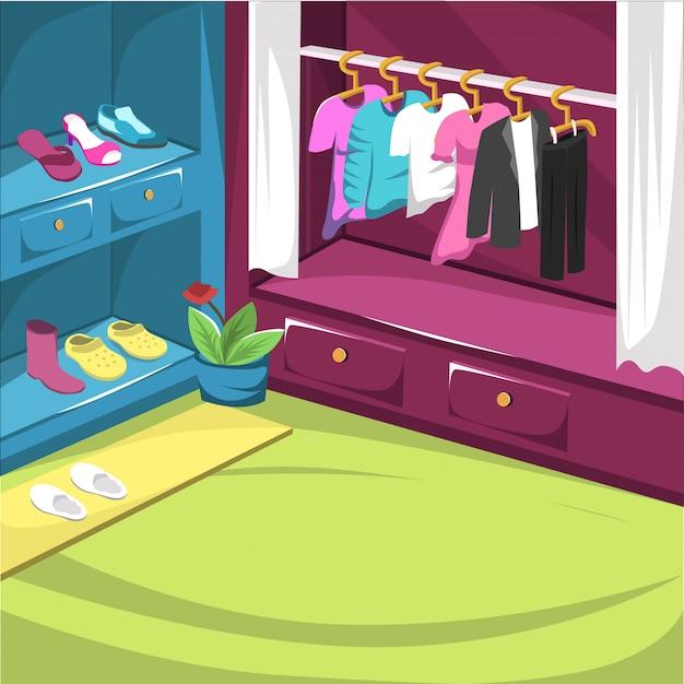 Schoenenkast en drees-kamer met hangerjack Premium Vector