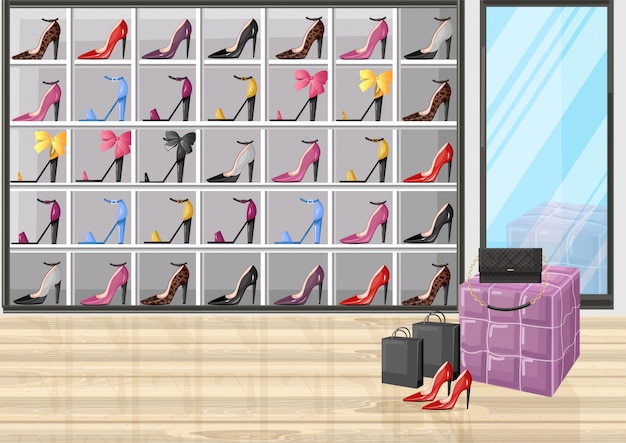 Schoenenwinkel rekken vlakke stijl illustratie Premium Vector