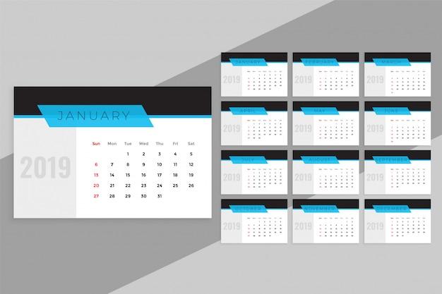 Schone blauwe 2019 kalendersjabloon Gratis Vector