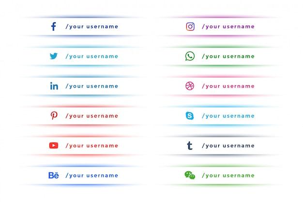 Schone elegante sociale media onderste derde verzameling Gratis Vector