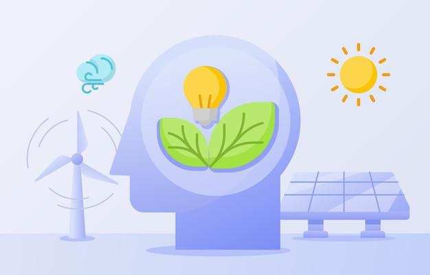 Schone energie bewustzijn concept gloeilamp blad op hoofd wind zonne-energie zonnepaneel Premium Vector
