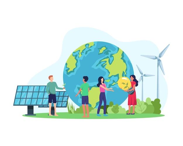 Schone energieconcept. hernieuwbare energie voor een betere toekomst. mensen met milieuvriendelijke energie, zonnepaneel en windturbine. in een vlakke stijl Premium Vector