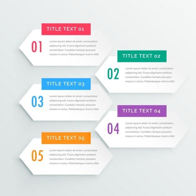 Schone witte infographic vijf stappen presentatiesjabloon Gratis Vector