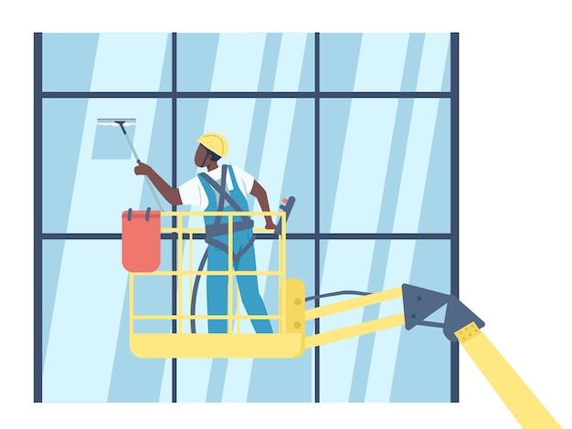 Schonere ramen wassen effen kleur zonder gezicht afro-amerikaanse conciërge op lift geïsoleerde cartoon afbeelding voor web grafisch ontwerp en animatie. schoonmaakbedrijf, conciërge Premium Vector