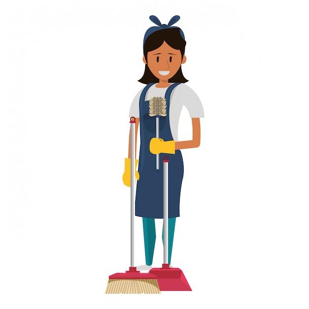Schonere werknemer met reinigingsproducten en apparatuur Premium Vector
