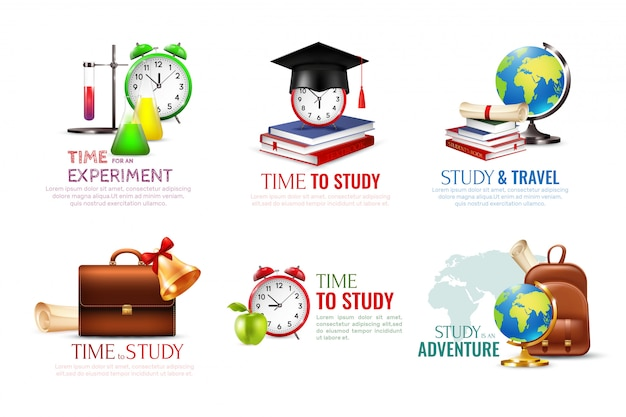 School afstuderen pictogrammen instellen met tijd om symbolen cartoon geïsoleerd te bestuderen Gratis Vector