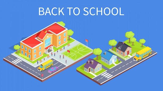 School area 3d en road to home Premium Vector
