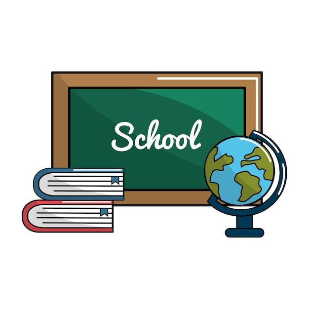School bord met boeken en aarde planeet bureau pictogram Premium Vector