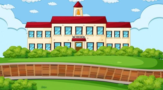 School buiten scène Gratis Vector