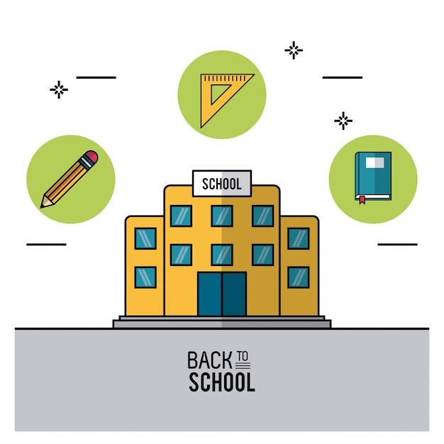 School bulding in close-up en potlood en liniaal squadron en boek Premium Vector