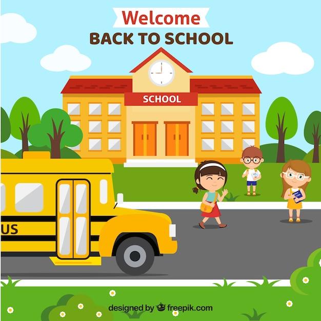 School bus achtergrond en school gevel Gratis Vector