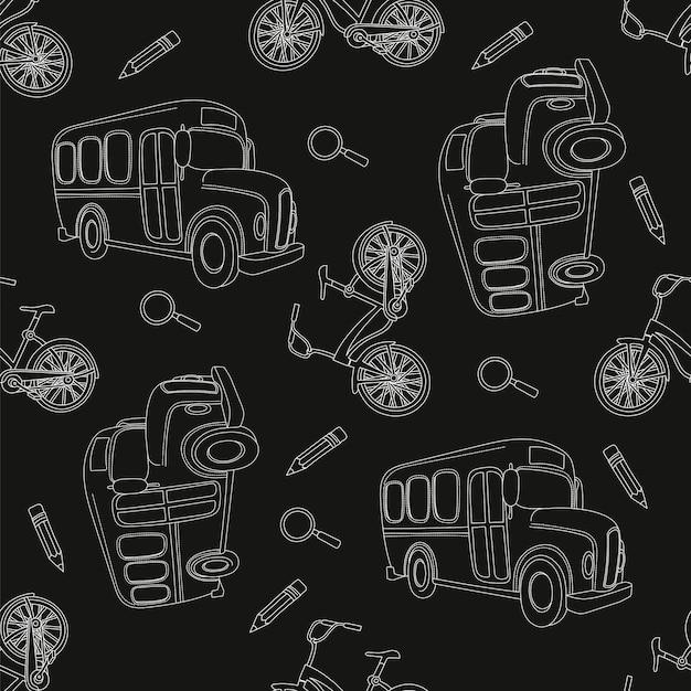 School bus & bike zwart naadloos patroon Premium Vector
