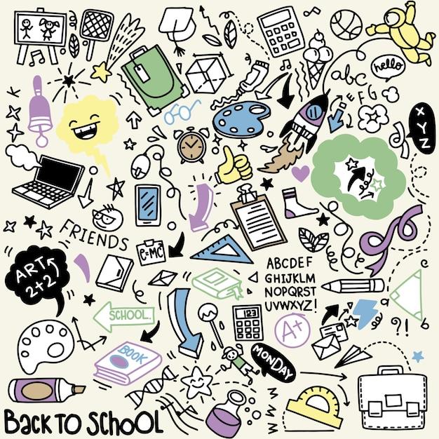 School clipart. vector doodle school pictogrammen en symbolen. hand getrokken stadying onderwijsobjecten Premium Vector