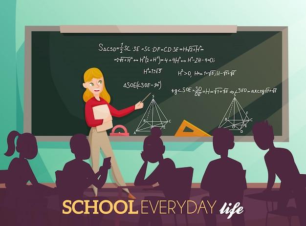 School dagelijks leven cartoon afbeelding Gratis Vector