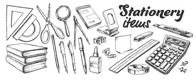 School en kantoorbenodigdheden items inktset Premium Vector