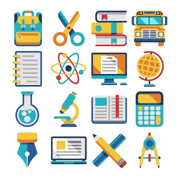 School en onderwijs plat pictogrammen Premium Vector