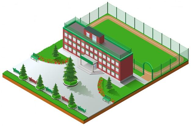 School gebouw architectuur en schoolstadion isometrisch Premium Vector