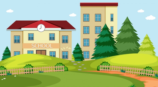 School gebouw natuur scène Gratis Vector