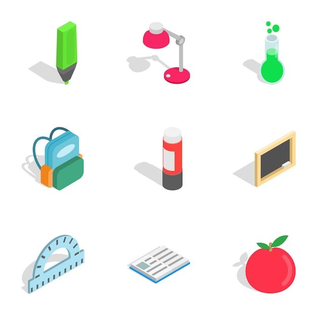 School hulpmiddelen pictogrammen, isometrische 3d-stijl Premium Vector