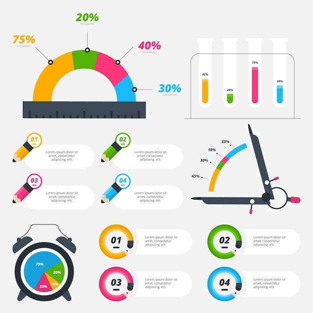 School infographic elementen met kleurrijke markeringen Premium Vector