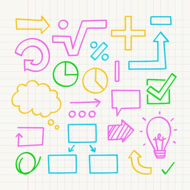 School infographic elementen met kleurrijke markeringen Gratis Vector