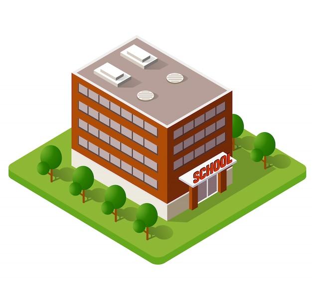 School isometrische gebouw studie onderwijs Premium Vector