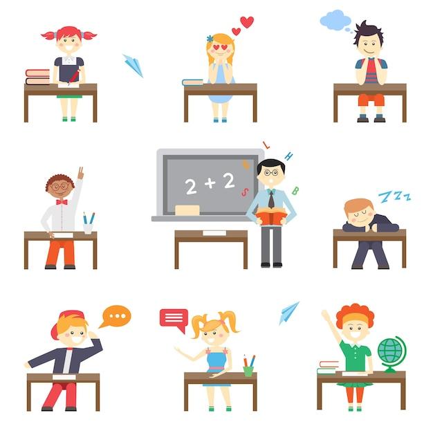 School. jongens en meisjes op schoolbanken en schoolbord Gratis Vector