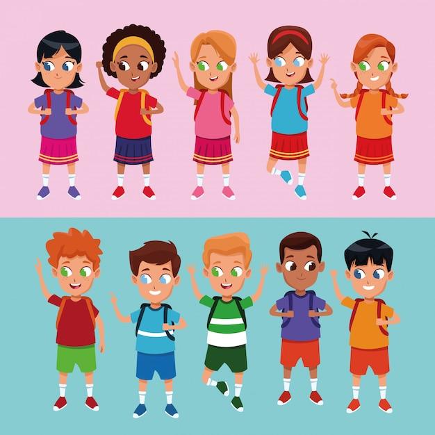 School jongens en meisjes tekenfilms Gratis Vector