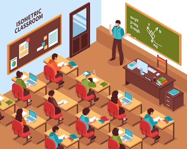 School klaslokaal les isometrische poster Gratis Vector