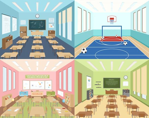 School klaslokalen en sportruimte Gratis Vector