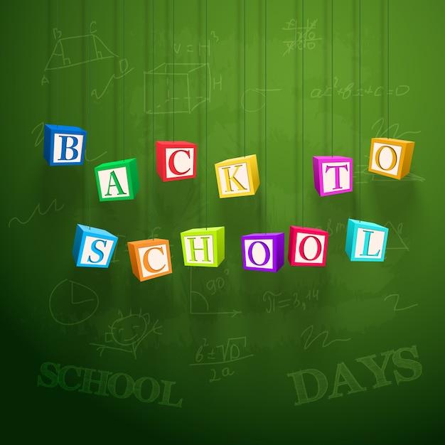 School leren poster met hangende kleurrijke kubussen met letters Gratis Vector