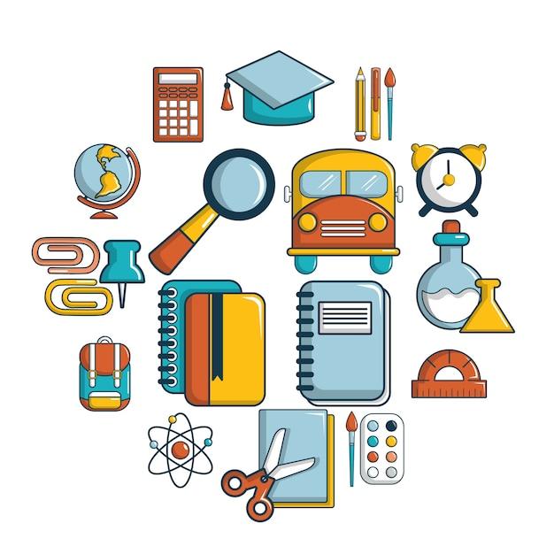 School onderwijs icon set, cartoon stijl Premium Vector