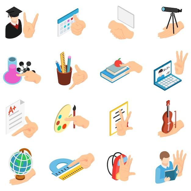 School onderwijs iconen set, isometrische stijl Premium Vector