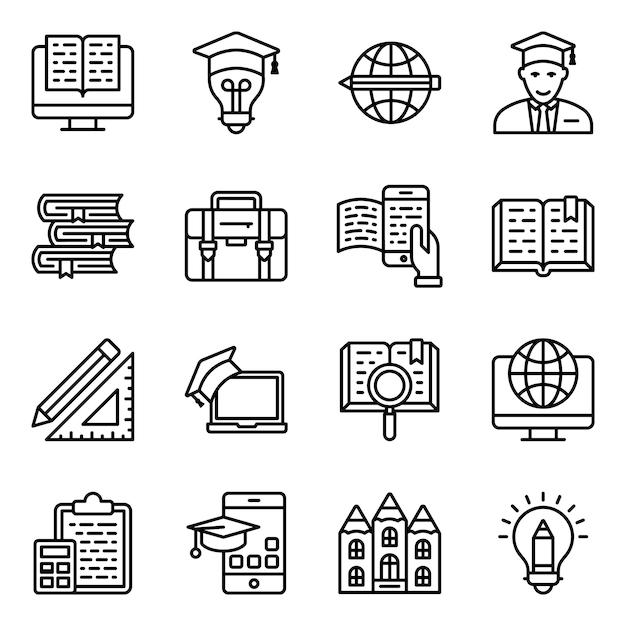 School onderwijs lijn iconen pack Premium Vector