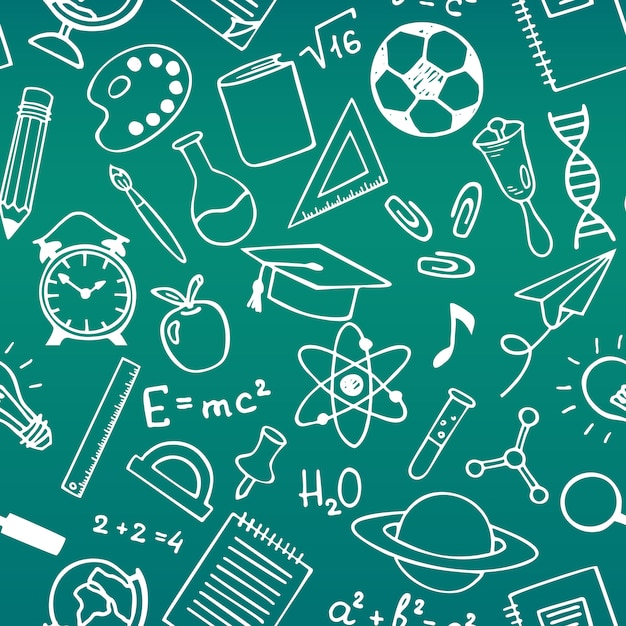 School onderwijs schets tekening naadloze patroon Premium Vector