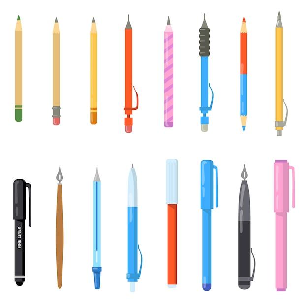 School pennen set Gratis Vector