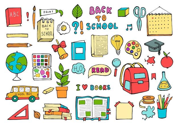 School pictogrammen. onderwijs levert in trendy doodle-stijl. Premium Vector