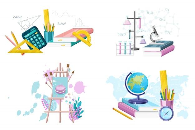 School set levert collectie. wiskunde. aardrijkskunde, scheikunde en schilderbenodigdheden instellen vlakke stijl. hoofd gerechten Premium Vector