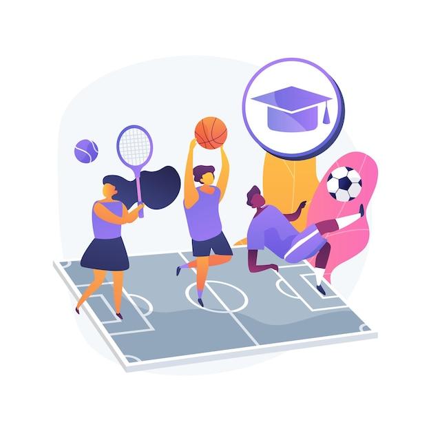 School sport team abstract concept illustratie. schoolkinderclub, competitieve teamsporten voor kinderen, naschoolse activiteit, lokaal toernooi, atletische oefeningen Gratis Vector