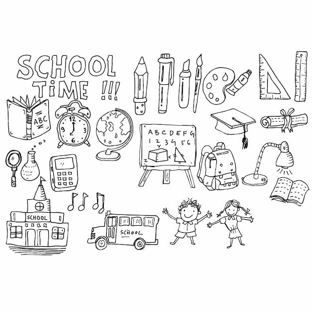 School tijd doodle Premium Vector