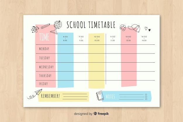 School tijdschema in vlakke stijl Gratis Vector