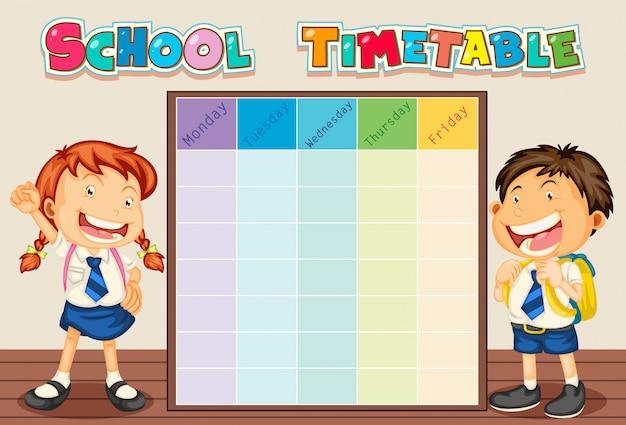 School tijdschema met student Gratis Vector