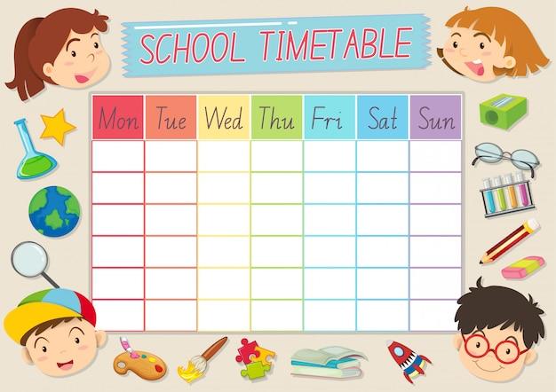 School tijdschema sjabloon Gratis Vector