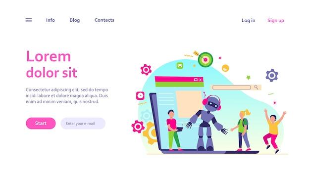 Schoolactiviteit en robotica klasse concept. de werkende robot van de jongen met afstandsbediening. vectorillustratie voor jonge ingenieur, onderwijs, robotica voor onderwerpen voor kinderen Gratis Vector