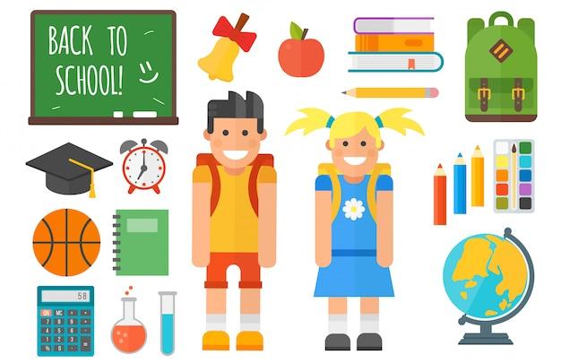 Schoolbenodigdheden apparatuur en schoolkid tekenset Premium Vector