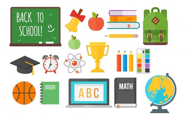 Schoolbenodigdheden apparatuur set Premium Vector